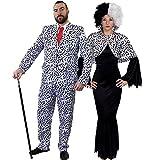 Déguisement pour couple adulte style dalmatien avec pour l'Homme (Medium) une veste et un pantalon + cravate rouge et pour la Femme (Small) une robe noire + une cape couvre épaules + une perruque. Idéal pour les fêtes d'Halloween ou les enterrements de vie de garçon et de jeune fille.