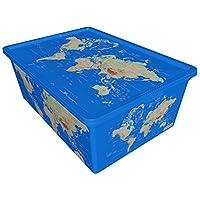 QUTU TrendBox World-2 Storage Box - Blue, H 19 cm x W 11.5 cm x D 33.5 cm
