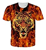 Goodstoworld Mens Womens Tiger in Fire 3D Print Shirt Summer Personalized Casual Short Sleeve Tshirt Tee Tops Large