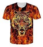 Loveternal Unisex Tiger T-Shirt 3D Muster Drucken Casual Kurzarm Tee Shirt XXL
