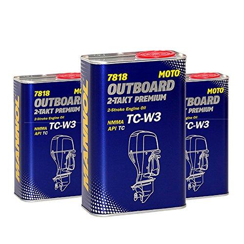 MANNOL 3 x 1L 2-Takt Premium Outboard/API TC NMMA TC-W3 Bootsmotorenöl