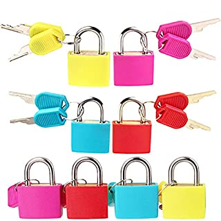 4x Solid Brass Cylinder Padlocks Shackle Security Set With 2x Keys High Visibility MultiPurpose Neon Coloured for School Gym Locker Luggage Suitcase Baggage Locks Filing Cabinets Toolbox Case