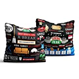 #4: Mc Sid Razz Friends TV Series Infographic & Quotes - Decorative cushion covers/ throw pillow / pillowcase ( 16 x 16 inch ) - [without Cushion] Officially Licensed by Warner Bros, USA [ Perfect Boyfriend Girlfriend Gifts, Husband Pillow, Wife Gifts, Spouse Gifts ] [Pack of 2]