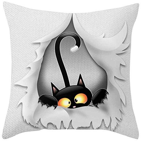 Squarex Chat Noir carré Taie d'oreiller Décoration de la Maison de voiture Canapé Chambre à coucher Housse de coussin