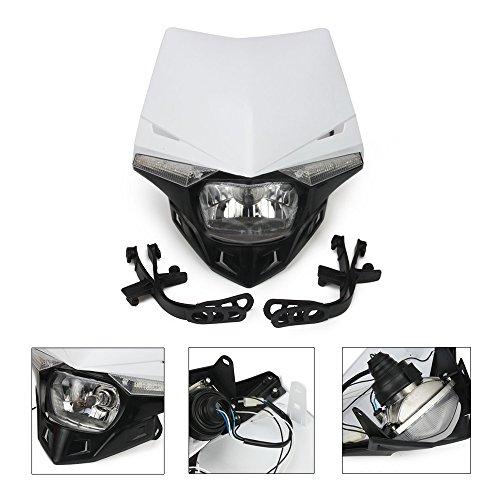 Weiß Universal S2 12 V 35 W Universal-Motorrad Scheinwerfer Kopf Lampe mit LED Drehen Licht für Motorrad Honda Kawasaki suzukki Yamaha Motorräder Motocross Enduro Dirt Pit Bike ATV (Scheinwerfer Kit Motorrad Led)