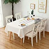 TYXCFR Tablecloth Home Nordic thick cotton linen art tablecloth waterproof and oilproof anti-hot table tablecloth,G,140 * 180CM