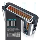 Arendo – Automatik Toaster Langschlitz | mit Defrost Funktion | Wärmeisolierendes Doppelwandgehäuse | Automatische Brotzentrierung | Brötchenaufsatz | herausziehbare Krümelschublade |GS-zertifiziert - 5