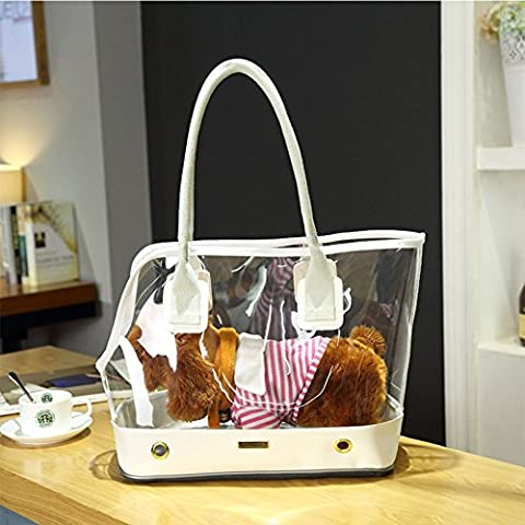 Cute Transparent Small Pet Cat Dog Travel Luxury Carrier Bag Chihuahua Dog Puppy Outdoor Portable Carrying Bags Tote Handbag (S, White)
