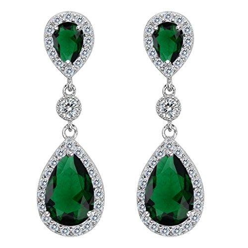 Clearine Damen 925 Sterling Silber Elegant Hochzeit Braut Cubic Zirconia Unendlichkeit Tropfen Pierced Dangle Ohrringe Smaragd-farbe (Smaragd Farbe Kostüme Schmuck)
