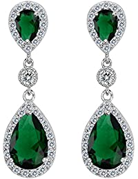 Clearine Damen 925 Sterling Silber Elegant Hochzeit Braut Cubic Zirconia Unendlichkeit Tropfen Pierced Dangle Ohrringe