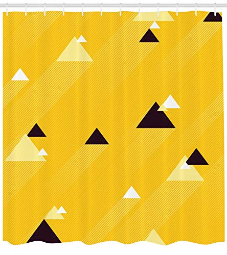 ow Shower Curtain, Big and Small Diagonal Triangles with Stripes Geometric Retro, Cloth Fabric Bathroom Decor Set with Hooks, 60 * 72inch, Marigold Black and White ()
