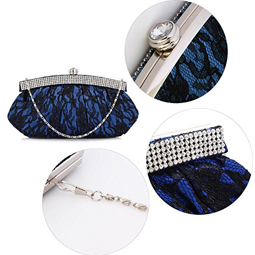 TrendStar Meine Damen Elegante Abend Party Geldbeutel Blütenspitze Kristall Handtaschen Blau