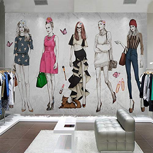Cucsaistat Tapeten-Retro- Hand Gezeichnetes Schönheitskleidungsgeschäft Bearbeitet Hintergrund-Wandmalerei-Innenausstattung