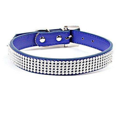 Hundehalsband für Hunde und Katzen PU Leder 3 Row Unechte Glänzend Diamanten Kristalle 1.5cm and 2.0cm Breit mit D ring und Traditionell Schnalle Verschluss von Trimming Shop - Königsblau, Small