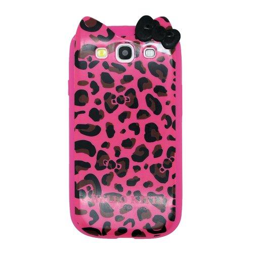 Hello Kitty Rosarot mit Leopard Weich TPU Gel Schutz Hülle Tasche Schutzhülle for Samsung Galaxy S3 SIII i9300 Handy with L&L Kabelbinder (Hello Kitty Leopard)