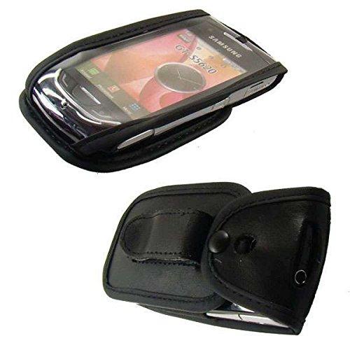 caseroxx Handy-Tasche Ledertasche mit Gürtelclip für Samsung GT-S5620 Monte aus Echtleder, Handyhülle für Gürtel (mit Sichtfenster aus schmutzabweisender Klarsichtfolie in schwarz)
