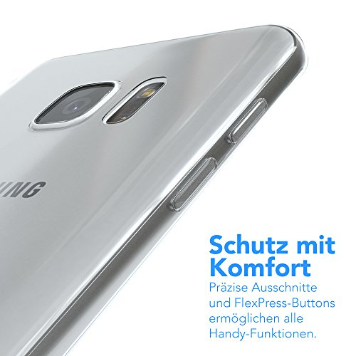 Samsung Galaxy S7 Edge Hülle - EAZY CASE Ultra Slim Cover TPU Handyhülle Matt - dünne Schutzhülle aus Silikon in Transparent / Weiß Clear Transparent