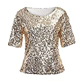 Linkay T Shirt Damen Langarm Bluse Tops Pailletten Oberteile Mode 2019 (Gold, XXX-Large)