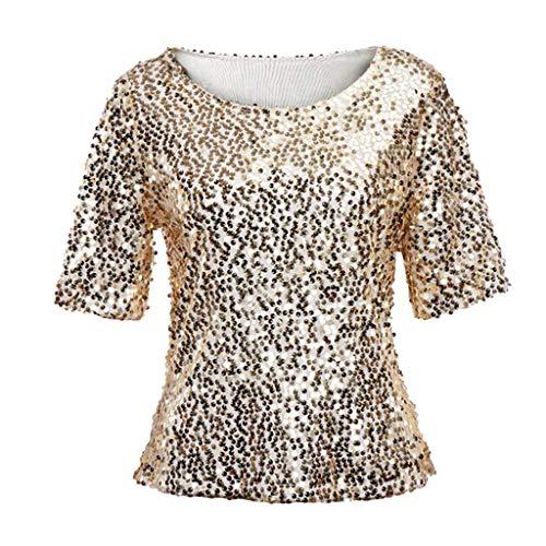 Linkay T Shirt Damen Langarm Bluse Tops Pailletten Oberteile Mode 2019 (Gold, X-Large) (Street Mime Kostüm)