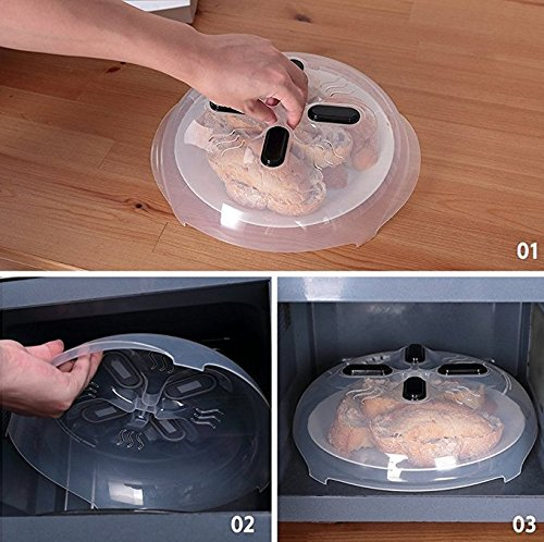 Couvercle Micro,Horsky Mgnétique Onde Micro Onde Anti Projections Couvercle Micro Onde Plastique Micro Onde avec Trou Cloche Micro Couvercle de Plat O...