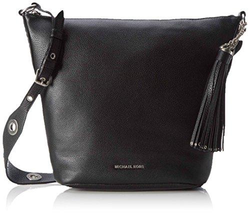 Michael Kors Damen Brooklyn Medium Feed Bag Schultertasche, Schwarz (Black), 12.5x27.5x24.5 cm