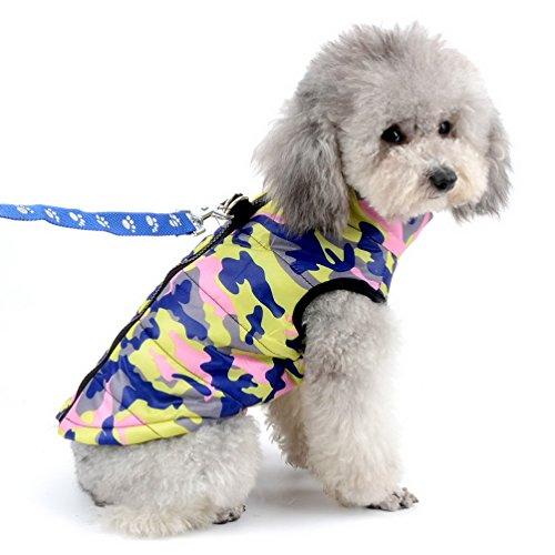 SELMAI Manteaux Chiens Petit Manteau d'Hiver vêtements pour Chaton Animaux Chihuahua matelassé Motif Camouflage avec Boucles de Laisse pour Petit Chien/Chat Camo Rose M