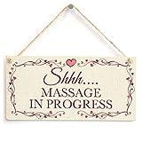 Shhh. Massage in Progress–Wunderschöne Sichtschutz Handgefertigt Zum Aufhängen Leise Bitte Salon Holz Aufhängen Schild 10,2x 20,3cm