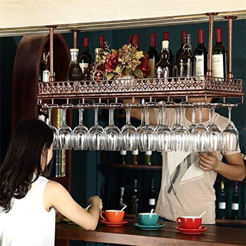 AK Nordic Retro Wand Weinregale Metall Eisen Lagerregal in Bar Loft Decke Wand montiert hängenden Wein Champagner Glas Becher Stemware Rack Weinflaschenhalter,Bronze,120 × 35cm -