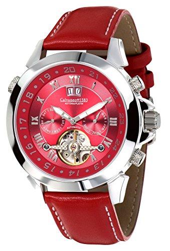 Calvaneo 1583–Astonia platino Deep Red–Reloj de pulsera analógico automático para hombre piel rojo 107929