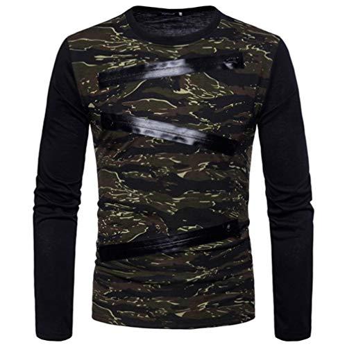 CICIYONER (^_-)Herren Lange Ärmel Reißverschluss Tarnung Beiläufig Anzüge Hemden Bluse Oben