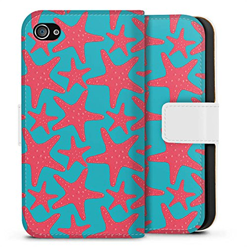 Apple iPhone X Silikon Hülle Case Schutzhülle Seestern Sommer Urlaub Sideflip Tasche weiß