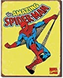 RETRO COMIC HEROES SIGN - VINTAGE SPIDERMAN - OFFICIALLY LICENSED STEEL METAL ADVERTISING WALL PLAQUE - 41CM X 32CM MARVEL COMICS