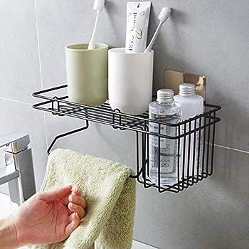Lonior Adhesive Corner Shower Organiser Caddy Rustproof Bathroom Triangular Shelf Storage Wall Mounted for Shampoo Conditioner Bathroom Toilet Kitchen Organizer No Drilling Black