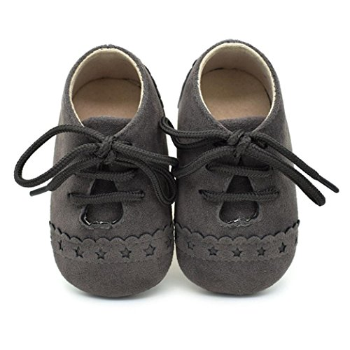 BZLine® Baby Sneaker rutschfest weiche Sohle Kleinkind Schuhe Schnürschuhe Dunkelgrau