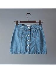 YFF Cool un mot jupe couleur du dégradé de la mode décoration poche boucle simple rangée,C,XL