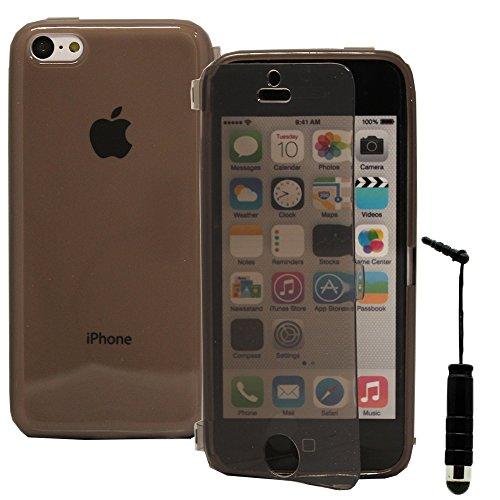 VComp-Shop® Silikon Handy Schutzhülle mit Klappe für Apple iPhone 5C + Großer Eingabestift - GRAU GRAU + Mini Eingabestift