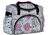 BABYLUX Wickeltasche Kinderwagentasche mit Wickelunterlage für Windeln Flaschen für Kinderwagen (43. Grau + Eule Rosa)