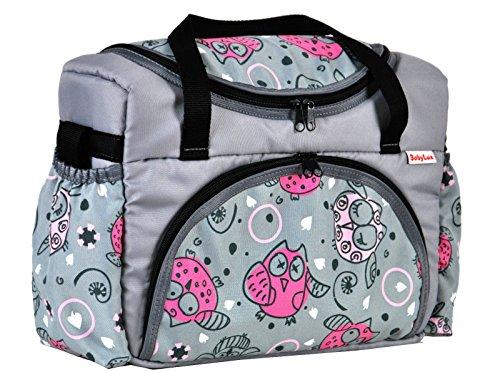 BABYLUX Wickeltasche Kinderwagentasche mit Wickelunterlage für Windeln Flaschen für Kinderwagen (43. Grau + Eule Rosa) (Baby-mädchen-rosa-windel-taschen)