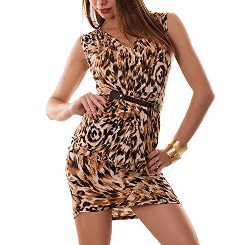 Toocool - Miniabito donna abito vestito vestitino animalier tubino maculato nuovo DL-1042 Giallo
