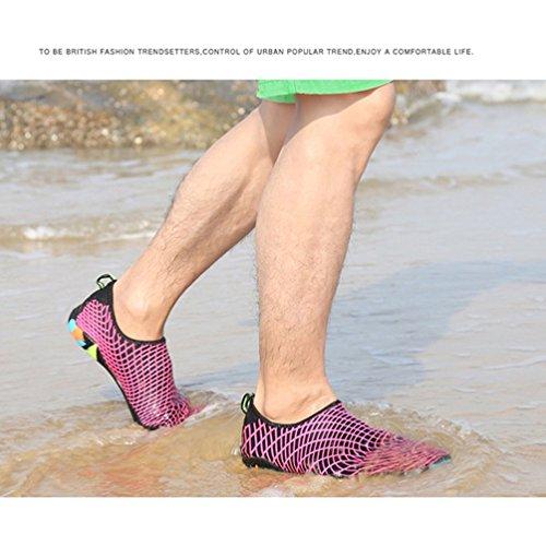Affinest Hommes Femmes Passion Feu Souple Eau Sport Chaussures En Cuir Aqua Unisexe Chaussettes Natation, Course, Plongée En Apnée, Surf, Exercices De Yoga Rose-b