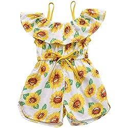 Girasol Monos Niña Bebe Mameluco Pantalones de Peto Bodies Bebe Tirantes Bebe Monos Verano Ropa de Vestir Tops Sin Manga Pijamas 6 Meses a 3 años Ropa Bebé Ropa de Playa