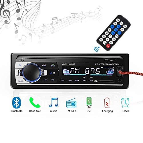 Radio de Voiture stéréo vidéo FM Radio,YIXING de 4x60W Poste Radio Voiture,Autoradio Bluetooth avec Télécommande + Adaptateur DIN ISO avec 2 Petits Câbles + 1 Grand Câble