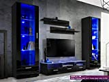 New Smart Living Room Furniture Set - High Gloss Fronts - Display Wall Unit - TV Floor Unit - Freestanding Cabinet (Castle 3/BB)