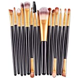 15 pcs Makeup Brush Set(1pc Puderpinsel,6pcs Lidschattenpinsel,1pc Augenbrauenpinsel,1pc Schwammpinsel,1pc Eyeliner Pinsel,3pcs Zweikopfpinsel,1pc Lippenpinsel,1pc Kammpinsel) (one size, Schwarz)