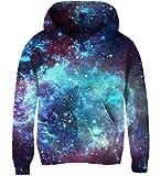 Goodstoworld Kapuzensweatshirt Kinder Jungen Mädchen Blau Galaxy Pullover Funny 3D Druck Lange Ärmel Hoodie Sweatshirt