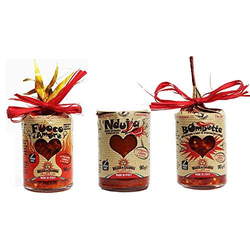 3 x SCHARFE & WURZIG ITALIANISCHER CHILISAUCEN DEGUSTABOX – Nduja di Spilinga 90g + Bomba Liebesbombe 90g + Fuoco d'amore 90g – Traditionelle Rezepte mit Kalabrischen Chilis