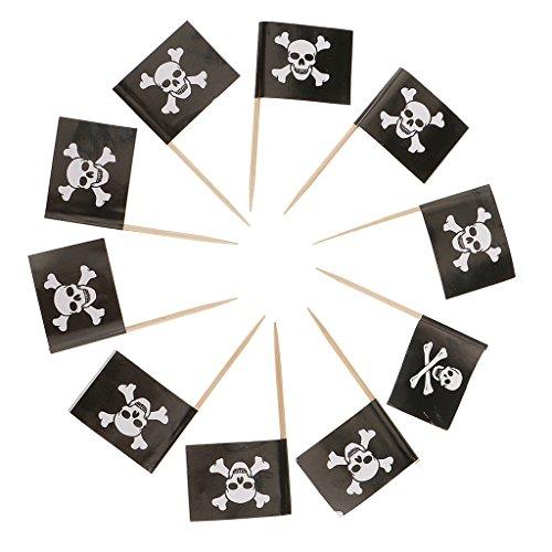 non-brand Sharplace 50x Kuchen Topper Cupcake Picks Tortenaufsatz Muffin Zahnstocher mit Pirat Flagge Form für Kindergeburtstag und Taufe - Schädel