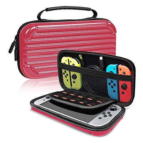 E T Nintendo Schalter Fall, Reisen, der Case Schale Schutz Game Box Hard Case Tasche für Nintendo-Konsole und Zubehör, Switch Traveler Deluxe und Aufbewahrung Fall Messenger Bag rot