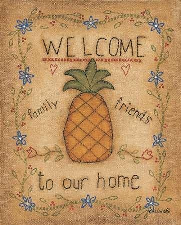 Ananas by Lewis, Kim-stampa fine art disponibile su tela e carta, Tela, SMALL (8 x (Folk Primitive Decor)