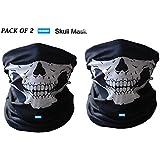 NIKAVI Black Seamless Skull Face Tube Mask - Pack (2)